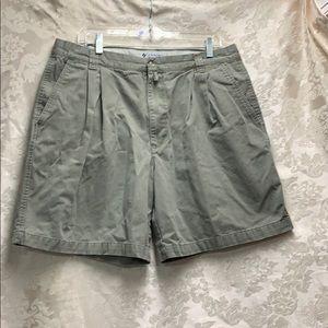 🌈🦄Columbia Pleated Olive Khaki Shorts GUC sz 38